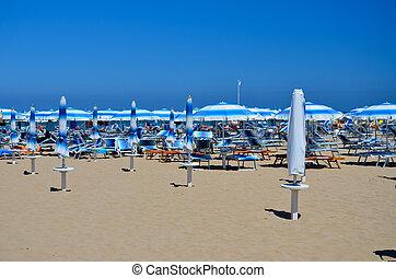 Rimini beach - umbrellas 2 - Rimini, view of the beach with...