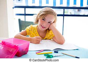 Child student kid girl happy smiling with homework on desk...
