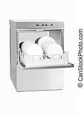 dish washer with opened door and plates