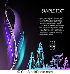 Banner with oil pumps. Vector illustration.