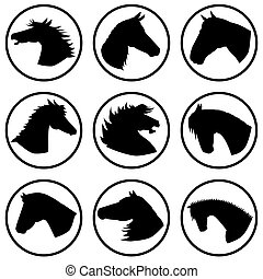 Icons with horse heads - different horse heads in different...