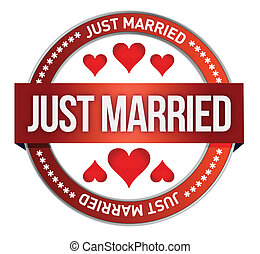 Just Married stamp print illustration design over white