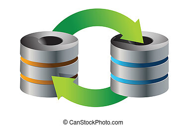 servers Database backup concept illustration design over...