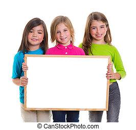 crianças, meninas, Grupo, segurando, em branco,...
