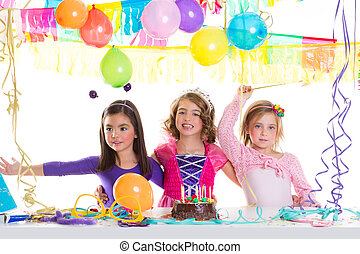 children happy birthday party girls group with balloons and...