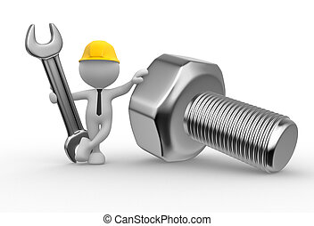 Tools - 3d people - man, person with a wrench and a screw