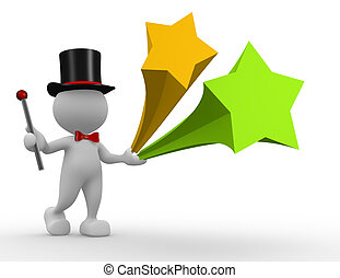 Magician - 3d people - man, person with wand and blank...