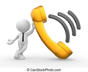 Telephone receiver - 3d people - man, person with a...
