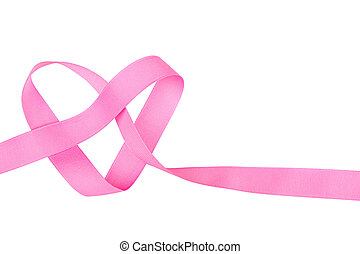 Pink ribbon in heart shape isolated - Pink ribbon in the...