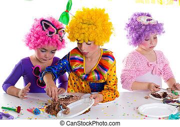 吃, 巧克力, 生日, 蛋糕, 黨, 孩子, 愉快