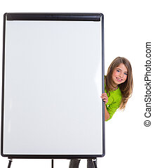 child happy girl with blank flip chart white copy space -...
