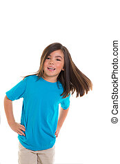Asian child girl in blue happy smiling moving hair