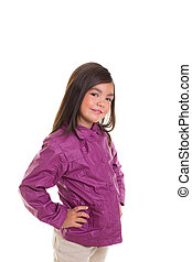 Asian child girl smiling with winter purple coat