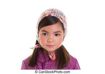 Asiático, criança, criança, menina,...