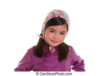 Asian child kid girl winter portrait purple coat and wool...