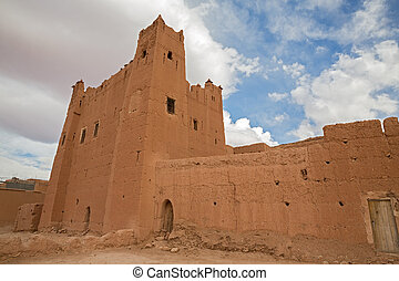 Morocco Kasbah - Wide angle view of Morocco Kasbah over blue...