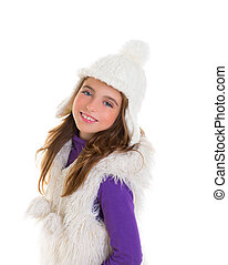 blue eyes happy child kid girl with white winter cap - blue...
