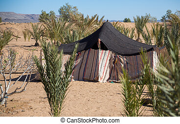 Bedouin tent - bedouin tent in the desert of morocco