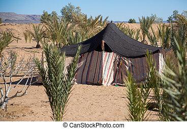 Bedouin tent - bedouin tent in the desert of morocco