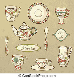 Retro set of dishware - Vector set with plate, teapot and...
