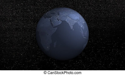 Earth rotation by night - 3D render
