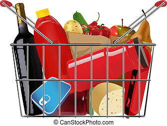 grocery - vector shopping full grocery basket, eps10 file,...
