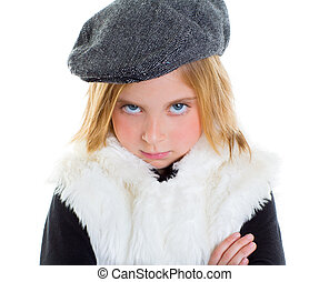 angry gesture child sad blond kid girl portrait winter cap...