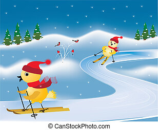 ski races - two yellow chicken take part in skiing on a...
