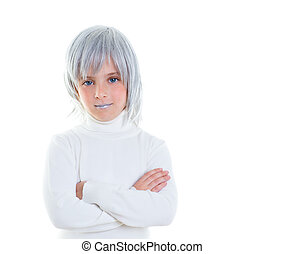 beautiful futuristic kid girl futuristic child with gray...