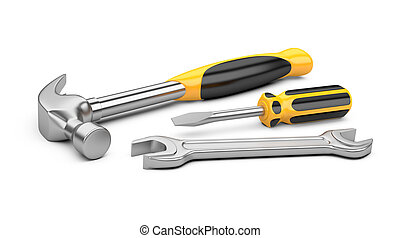 Mechanic tools set screwdriver, wrench and hammer isolated...