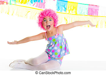 child kid girl with party clown pink wig funny expression -...