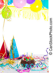 Children birthday party with chocolate cake confetti garland...