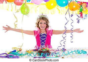 child kid crown princess in birthday party happy gesture and...