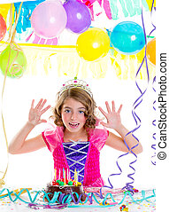 child kid crown princess in birthday party