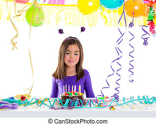 Asian child kid girl in birthday party hungry tonge
