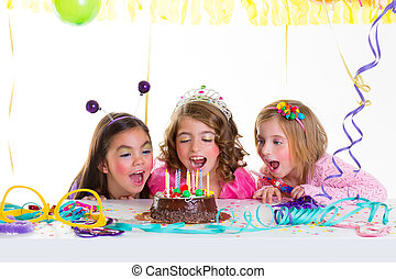 children kid girls birthday party look excited chocolate...