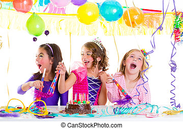 children kid in birthday party dancing happy laughing with...