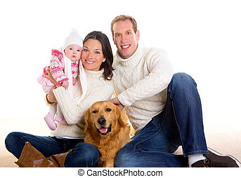 Baby girl mother and father family happy in winter and dog -...
