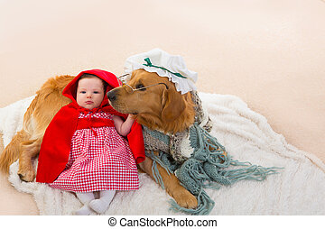 Baby Little Red Riding Hood with wolf dog as grandma - Baby...