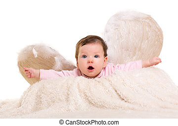 baby girl angel with feather white wings on white fur and...