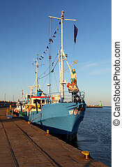 Historic fishing boat in port