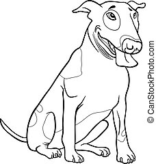 bull terrier dog for coloring book - Black and White Cartoon...