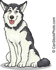 husky or malamute dog cartoon illustration - Cartoon...