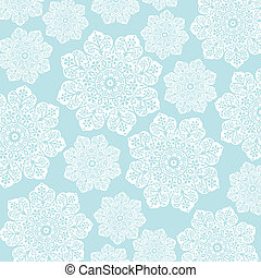 Pastel Blue and White Floral Batik - White floral damask and...