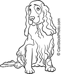 cocker spaniel dog cartoon for coloring book - Black and...