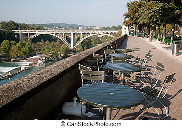 Cafe Tables in Munster Cathedral Park with Kirchenfeldbrucke...