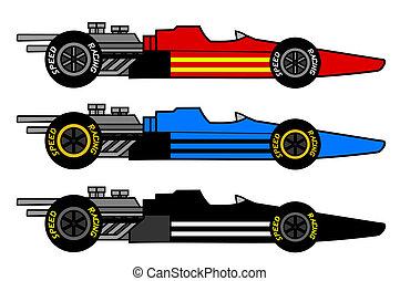 Three racing cars - Creative design of three racing cars