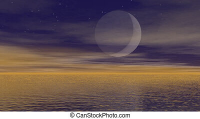 Moonlight over ocean - 3D render - Zoom out of big full moon...