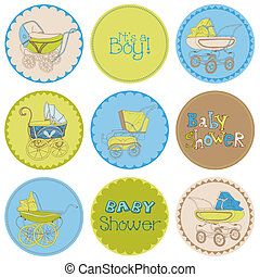 Baby Boy Shower Party Set - for your design and scrapbook in vector