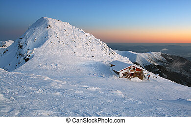 Sunset in mountains Low Tatras - Slovakia Name of peak is...